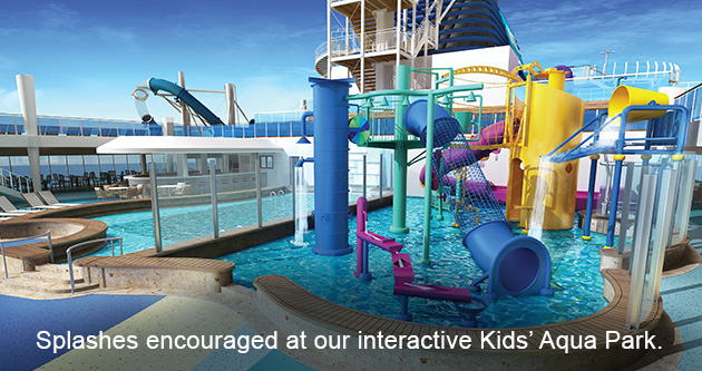 Splashes encouraged at our interactive Kids' Aqua Park.